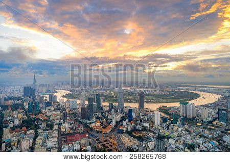 Aerial View Of Ho Chi Minh Modern Office Buildings, Condominium N Ho Chi Minh City Downtown With Sun