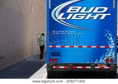 San Francisco, Ca, Usa - July 18,2011: Blue Bud Light Delivery Truck On The Street In San Francisco.