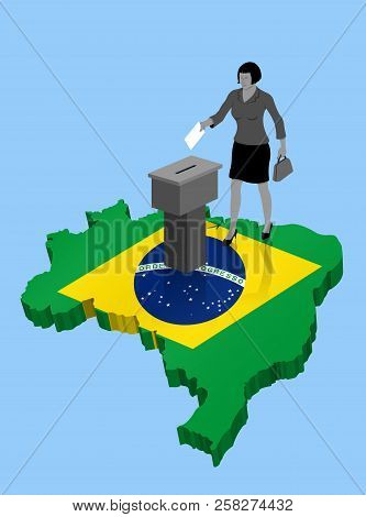 Brazilian citizen voting for Brazil election over an 3D Map. All the objects, shadows and background are in different layers. poster