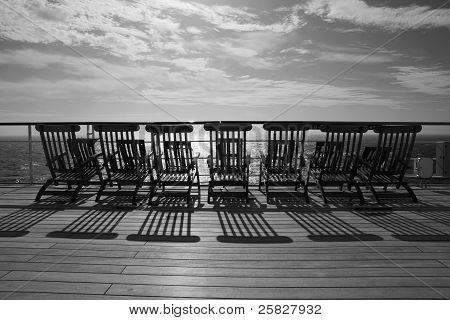 TRANSATLANTIC CROSSING - CIRCA OCTOBER 2011 - Queen Mary 2 Deckchairs