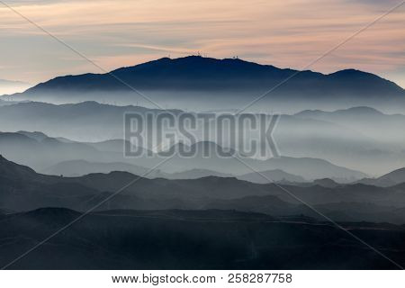 Misty San Gabriel Mountains ridges near Los Angeles in Southern California.