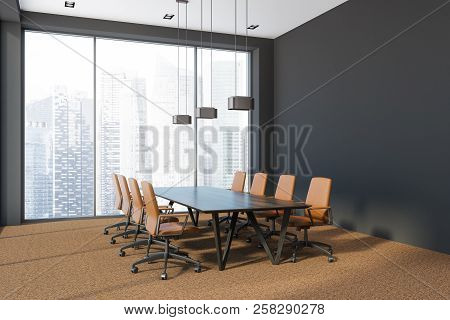 Modern Office Conference Room Corner With Panoramic Windows, A Brown Carpet And A Long Wooden Table