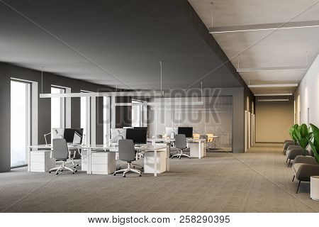 Modern Grey Office Interior With Rows Of White Computer Desks And Loft Windows. Gray Carpet On The F