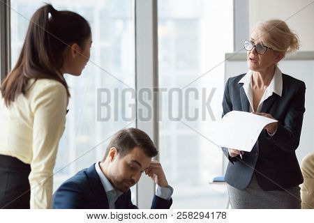 Angry Dissatisfied Director Business Woman Criticizing Work
