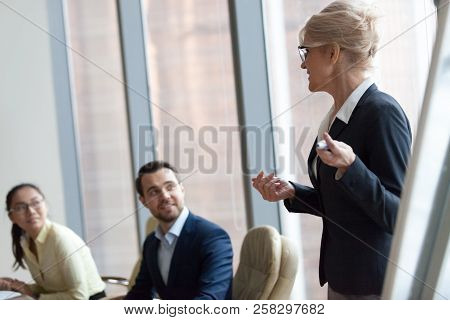 Successful Team Leader Businesswoman Boss Present New Project