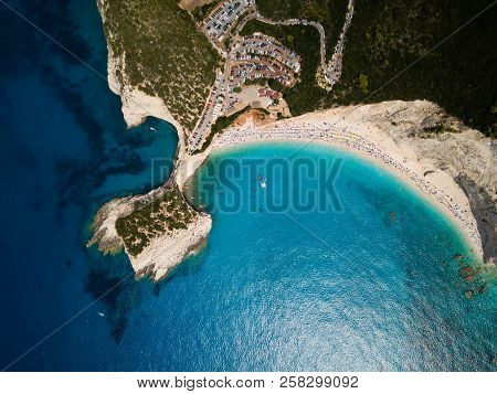 Birds Eye View About Lefkada, Famous Porto Katsiki Beach And Blue Sea