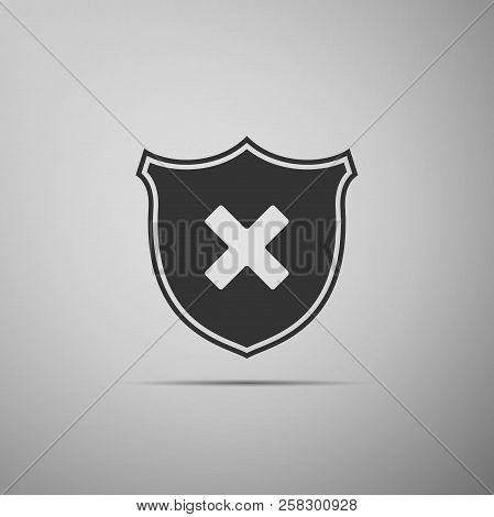 Shield And Cross X Mark Icon Isolated On Grey Background. Denied Disapproved Sign. Protection And Sa