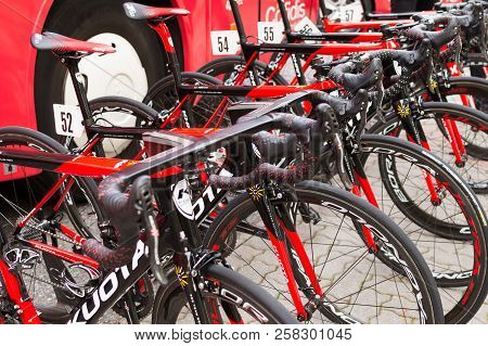 Ruzomberok, Slovakia - September 14, 2018: Team Cofidis Bicycles Before Start Of The Third Stage Of