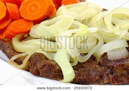 Chuck Steak Carrots And Onions Up Close