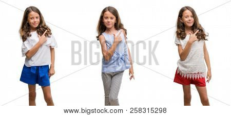 Collage of hispanic young child over isolated background cheerful with a smile of face pointing with hand and finger up to the side with happy and natural expression on face looking at the camera.