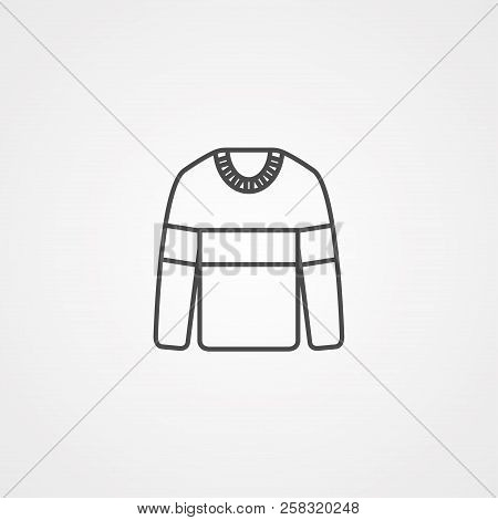 Sweatshirt, Sweater Flat Line Icon. Casual Apparel Store Sign. Thin Linear Logo For Clothing Shop.