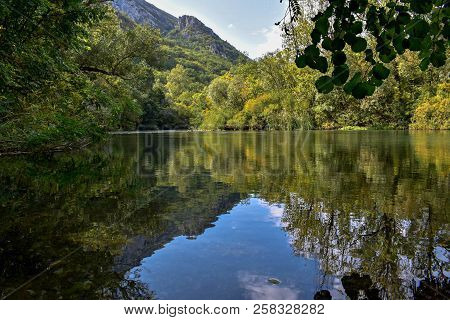 Mountain Forest River Reflection Landscape. Forest River Reflection In Mountains. River Valley In Mo