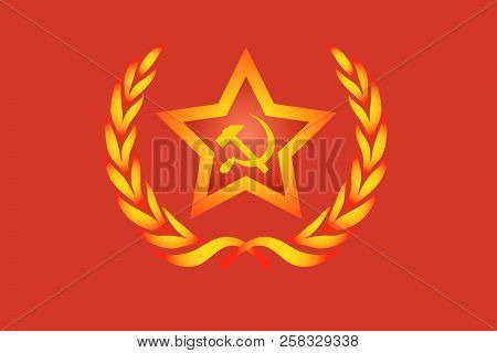 Gold Star On Red Background. Coat Of Arms Of Socialist Countries