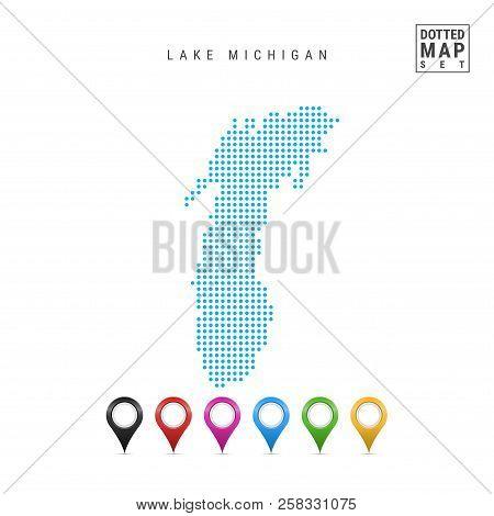 Dots Pattern Vector Map Of Lake Michigan. Stylized Simple Silhouette Of Lake Michigan. Set Of Multic