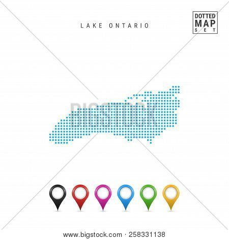 Dots Pattern Vector Map Of Lake Ontario. Stylized Simple Silhouette Of Lake Ontario. Set Of Multicol