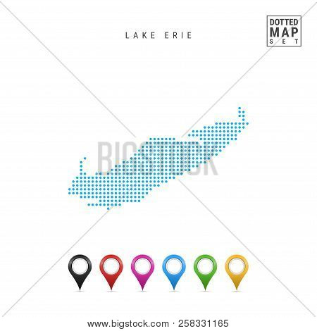 Dots Pattern Vector Map Of Lake Erie. Stylized Simple Silhouette Of Lake Erie. Set Of Multicolored M
