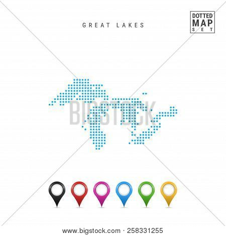 Dots Pattern Vector Map Of All The Great Lakes. Stylized Simple Silhouette All Of The Great Lakes. S