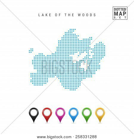 Dots Pattern Vector Map Of The Lake Of The Woods, Manitoba-minnesota-ontario. Stylized Simple Silhou