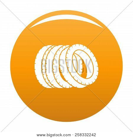Pile Of Tire Icon. Simple Illustration Of Pile Of Tire Icon For Any Design Orange