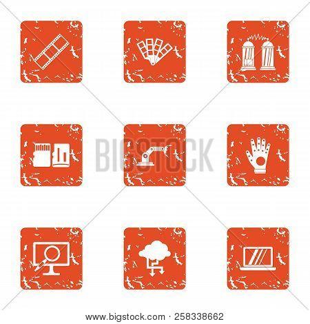 Wireless Protection Icons Set. Grunge Set Of 9 Wireless Protection Icons For Web Isolated On White B