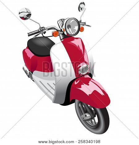 Picture Of Motor Scooter Of Old Model - Isolated On White
