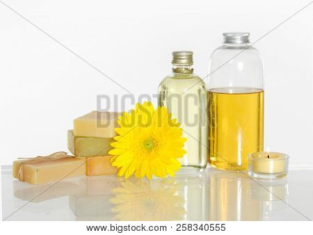 Set of yellow flower and massage oil ,stacked soap