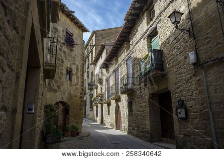 Traditional Architecture In Uncastillo, Zaragoza, Spain, On October 10, 2015. It Is A Historic Town