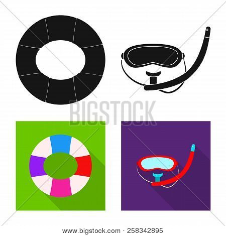 Vector Illustration Of Pool And Swimming Icon. Set Of Pool And Activity Stock Vector Illustration.