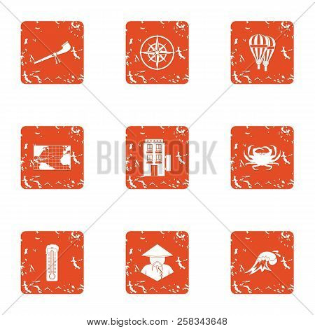Mysterious Asia Icons Set. Grunge Set Of 9 Mysterious Asia Icons For Web Isolated On White Backgroun