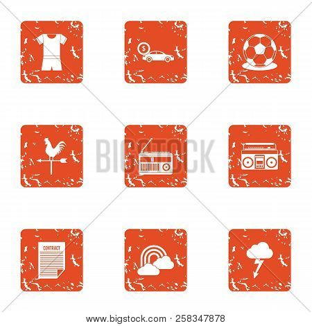 Rich Lifestyle Icons Set. Grunge Set Of 9 Rich Lifestyle Icons For Web Isolated On White Background