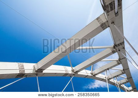 White Cable-stayed Bridge Fragment Under Blue Sky. Keelung, Taiwan