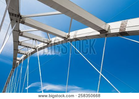 White Steel Cable-stayed Bridge Fragment Under Blue Sky. Keelung, Taiwan