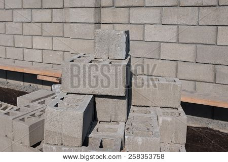 Bricks. Construction Of The Foundation. Laying A Brick Fence. Construction Work On The Plot. Fence C