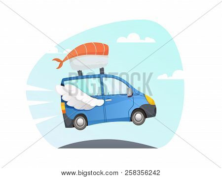 Japan Food Delivery. Take Away Vector  Sushi Delivery Fast Truck With Wings Flying Over The Road. Fa