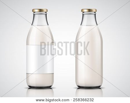 Glassware Milk Bottles With Blank Labels And Lid Or Empty Yogurt Glass Containers. Vegan Drink And H