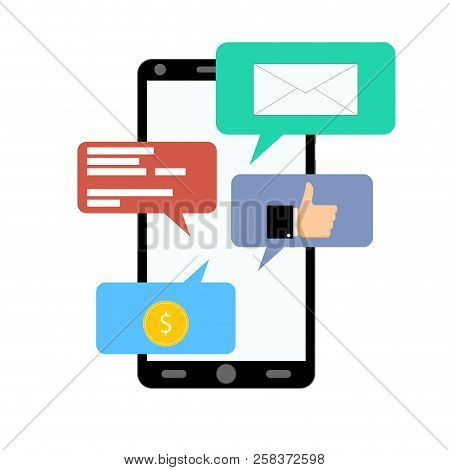 Notification On Smartphone, Like, Salary, Message. Notification Messenger With Coin And Thumb Up. Ve