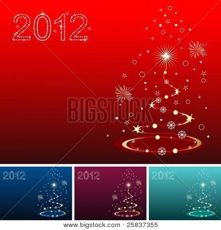 artistic & creative Christmas tree with 2012 shiny text in red, blue, purple & green for Christmas & other occasions. poster
