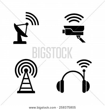 Radio Wireless Technology. Simple Related Vector Icons Set For Video, Mobile Apps, Web Sites, Print