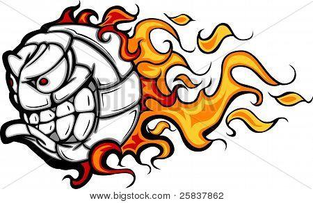 Flaming Volleyball Ball Face Cartoon Illustration Vector poster