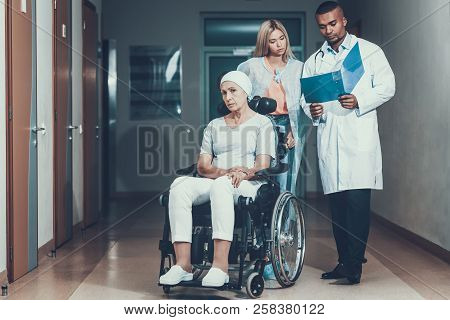 Cancer Patient. Woman With Mother. Doctor Keep Medical History. Upset Women. Doctor In Ward. Woman U