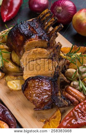 Roasted rack of pork, pork loin roast with frenched ribs