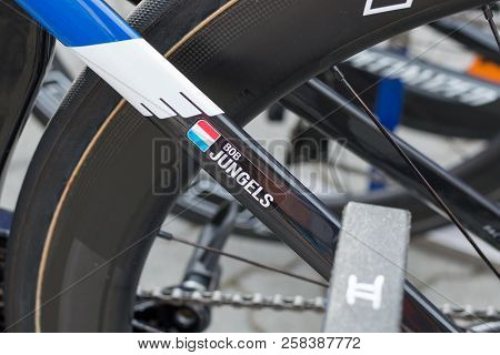 Ruzomberok, Slovakia - September 14, 2018: Bob Jungels Bicycle Detail Before Third Stage Of Road Cyc