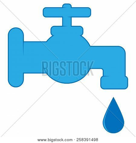 Water Tap Icon. Vector Of A Water Faucet With Water. Water Tap With A Drop Of Water.