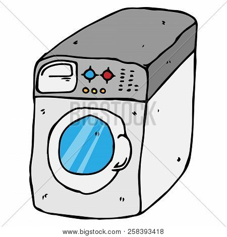 Washing Machine. Vector Of A Washing Machine.  Hand Drawn Washing Machine.