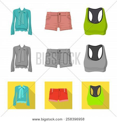 Isolated Object Of Woman And Clothing Sign. Set Of Woman And Wear Stock Symbol For Web.