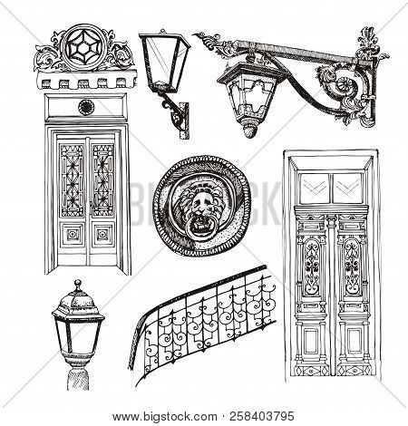 Old Style Doors And Building Elements Isolated On White Background. Forged Railings And Lanterns In