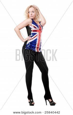 Sexy Woman Posing In Union-flag Shirt