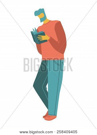 Cartoon Vector People. A Man With A Beard Reading A Book. Isolated Casual People Vector Illustration