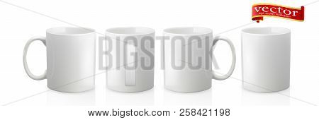Photo Realistic White Cup Isolated On White Background. Design Template For Mock Up. Vector Illustra