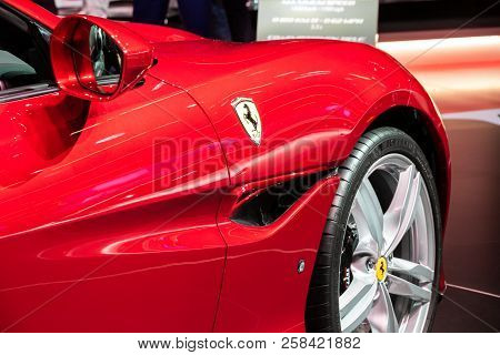 Frankfurt, Germany - Sep 13, 2013: Ferrari Portofino Sports Car  Showcased At The Frankfurt Iaa Moto